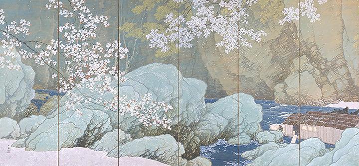 川合玉堂『行く春』左隻 1916年 重要文化財