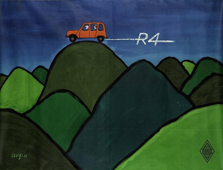 レイモン・サヴィニャック『ルノー4』(1963年)ポスター、カラーリトグラフ 158×200cm ティエリー・ドゥヴァンク・コレクション©Annie Charpentier 2018