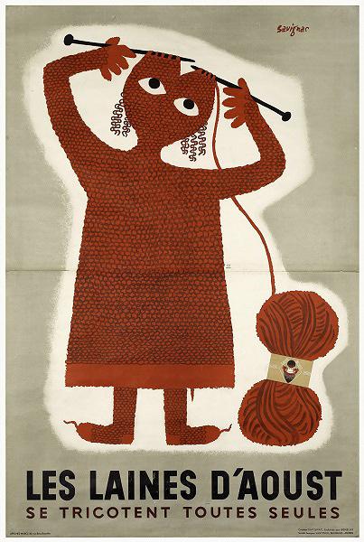 レイモン・サヴィニャック『ひとりでに編める ウット毛糸』(1949/1951年)ポスター、カラーリトグラフ 240×159cm パリ市フォルネー図書館所蔵 ©Annie Charpentier 2018