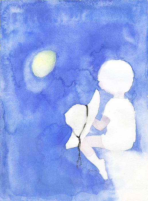 いわさきちひろ『月を見る少年』1970年