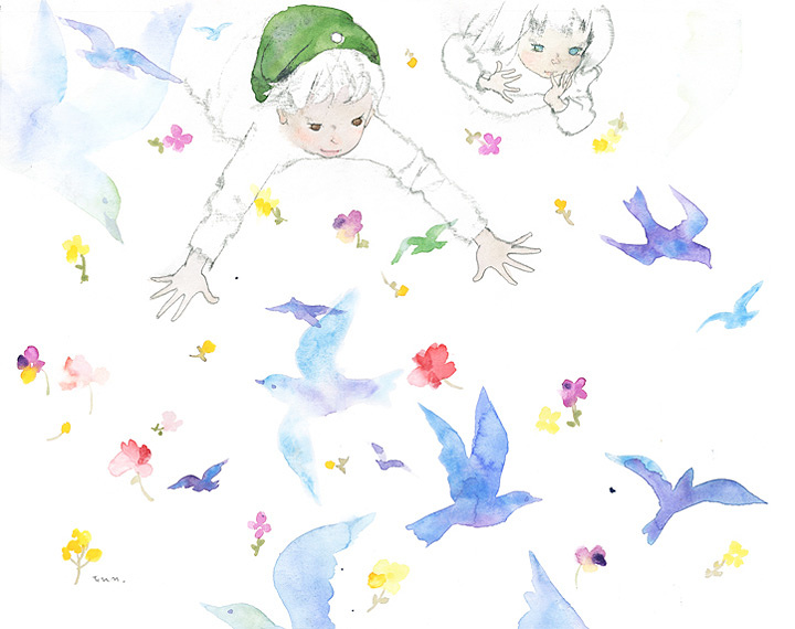 いわさきちひろ『夜の国で青い鳥をつかまえるチルチルとミチル』 『青い鳥』(世界文化社/講談社)より 1969年