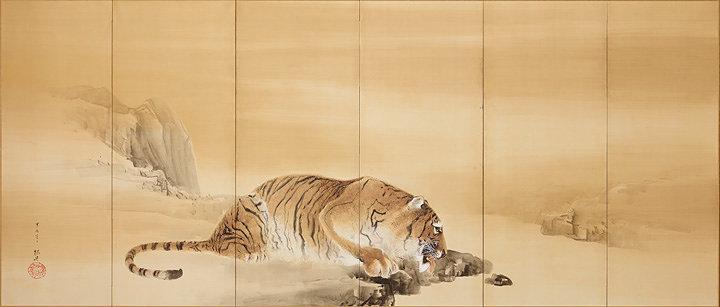 木島櫻谷『獅子虎図屏風』左隻 明治37年(1904)個人蔵