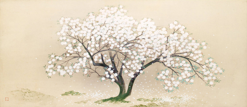 小林古径『清姫』のうち「入相桜」1930(昭和5)年 紙本・彩色 山種美術館