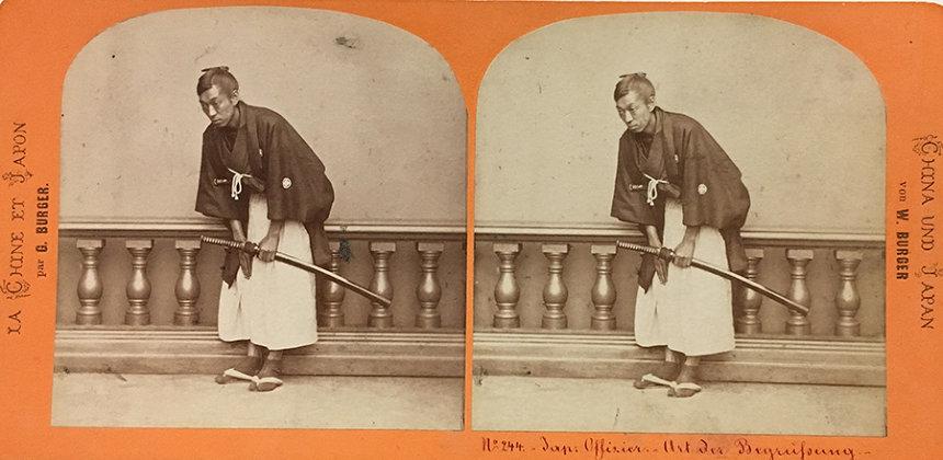 ヴィルヘルム・ブルガー『武士の挨拶』1866年 鶏卵紙(ステレオカード) 長崎大学附属図書館