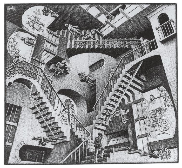 マウリッツ・コルネリス・エッシャー『相対性』1953年 All M.C. Escher works copyright © The M.C. Escher Company B.V. - Baarn-Holland. All rights reserved. www.mcescher.com