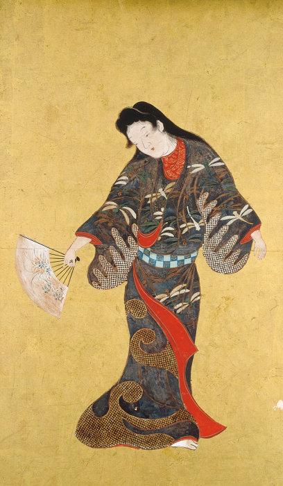 『舞踊図』重要美術品 六面のうち一面 江戸時代(17世紀)各63.0×37.1 サントリー美術館蔵