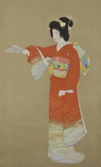上村松園『序の舞』重要文化財 昭和11年(1936)231.3×140.4 東京藝術大学蔵