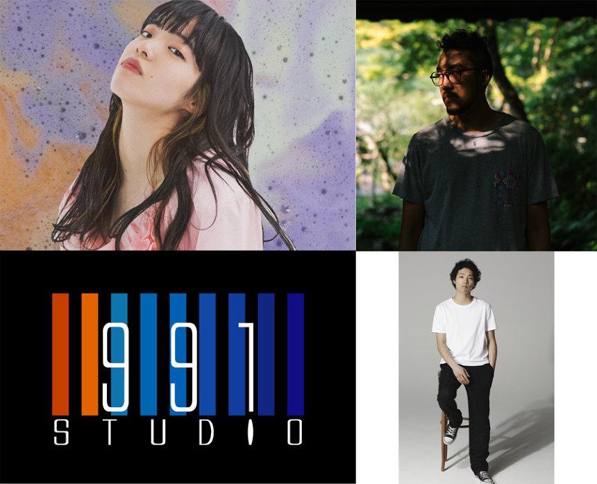 左上から時計回りにあいみょん、Lil'Yukichi、Ryohu、studio991ロゴ