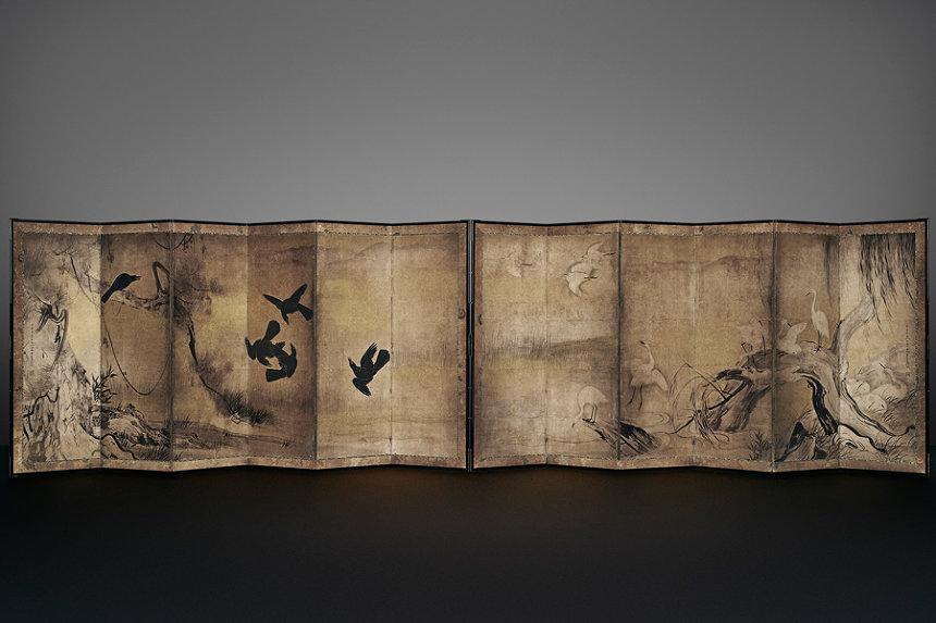 長谷川等伯『烏鷺図屏風』慶長10(1605)年以降 紙本墨画 各154×354cm 重要文化財 撮影:YASUNARI KIKUMA