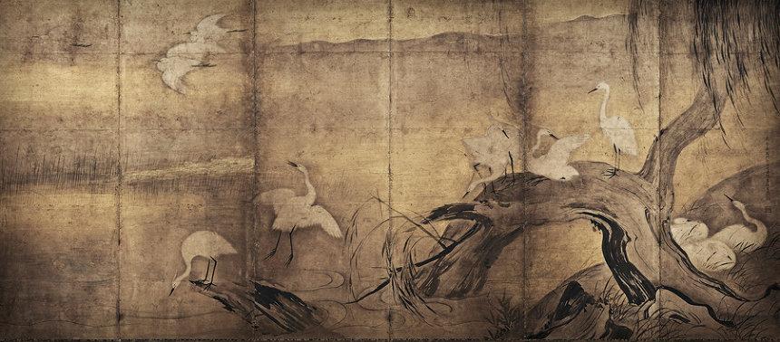 長谷川等伯『烏鷺図屏風』右隻 慶長10(1605)年以降 紙本墨画 各154×354cm 重要文化財 撮影:YASUNARI KIKUMA