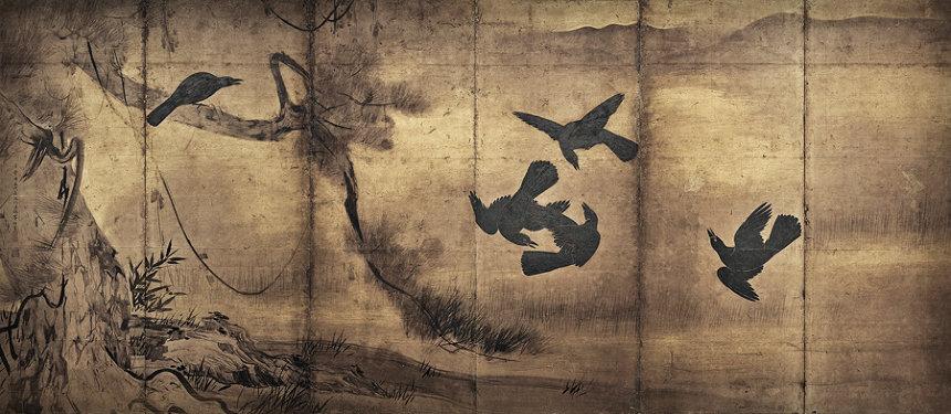 長谷川等伯『烏鷺図屏風』左隻 慶長10(1605)年以降 紙本墨画 各154×354cm 重要文化財 撮影:YASUNARI KIKUMA