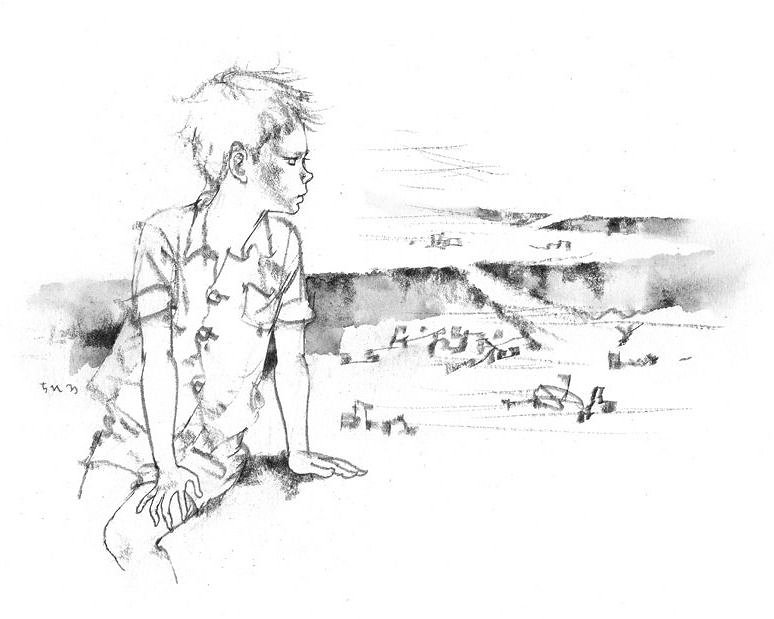 いわさきちひろ『焼け跡を見つめる少年』『わたしがちいさかったときに』(童心社)より 1967年