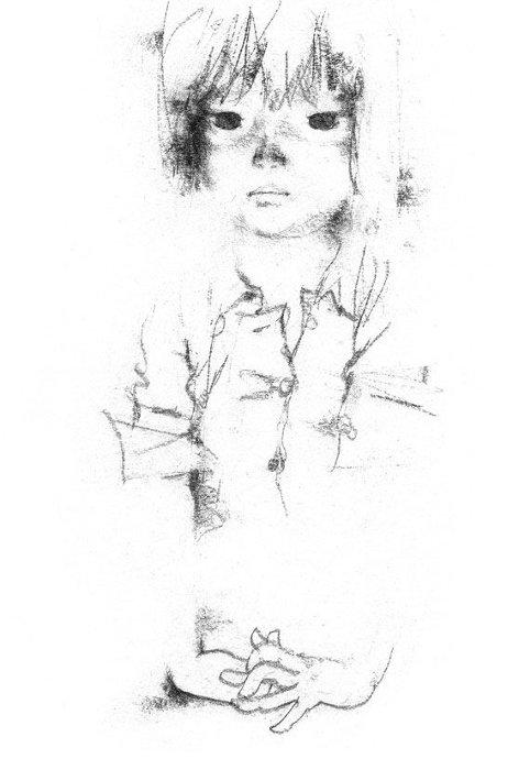 いわさきちひろ『見つめる少女』『わたしがちいさかったときに』(童心社)より 1967年