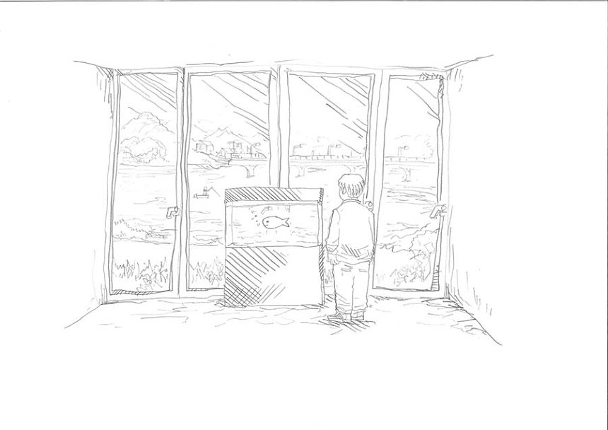 EVERYDAY HOLIDAY SQUAD「バス釣り」をテーマにした新作のためのスケッチ