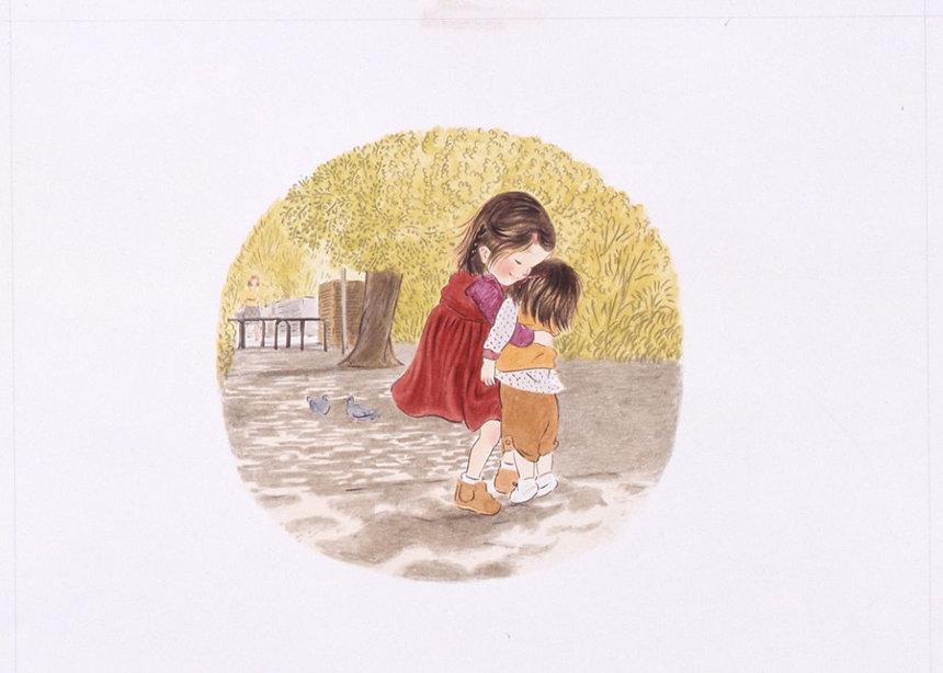 『あさえとちいさいいもうと』(1979年)筒井頼子・作、林明子・絵、福音館書店刊、原画は宮城県美術館蔵