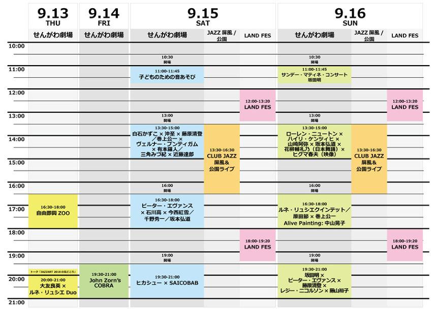 『JAZZ ART せんがわ2018』タイムテーブル