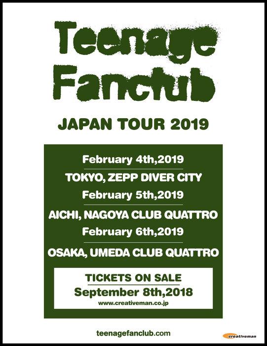 『Teenage Fanclub JAPAN TOUR 2019』ビジュアル