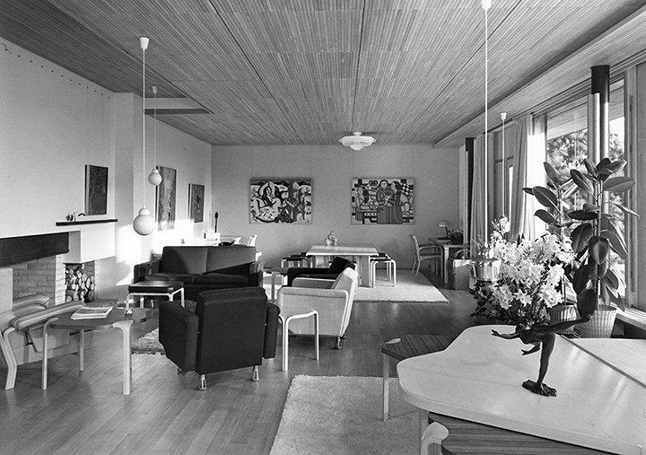 アルヴァ・アアルト『ルイ・カレ邸』リビング・ルーム 1956-1959年 バゾシュ=シュル=ギヨンヌ(フランス) Living Room, Maison Louis Carré, Bazoches-sur-Guyonne, France, Alvar Aalto, 1956-1959 ©Alvar Aalto Museum photo: Heikki Havas