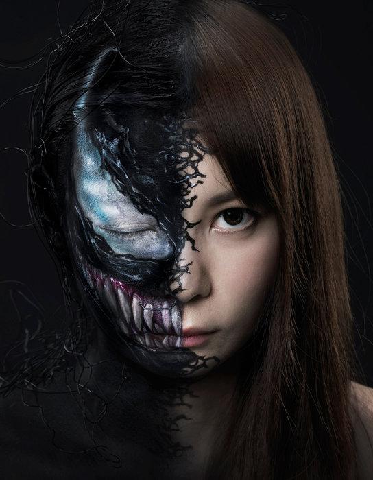 「ヴェノム」の特殊メイクを施した中川翔子 ©&TM 2018 MARVEL