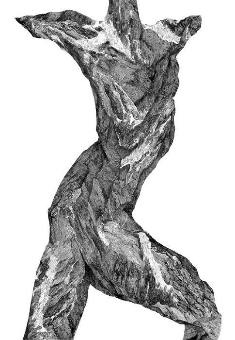 ヴィレ・アンデション『Play I』 ink and pencil on paper, 85x60cm, 2017