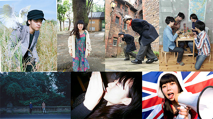 左から七尾旅人、柴田聡子、TWEEDEES、ナツノムジナ、眉村ちあき、塩塚モエカ、ROTH BART BARON