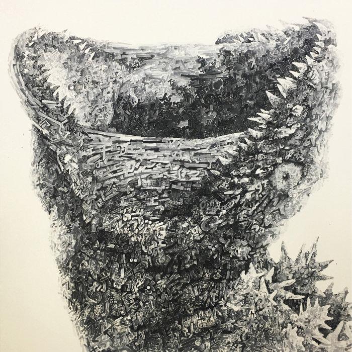 西垣肇也樹『決シテ瞋ラズ』1167×1167×40mm、墨、雲肌麻紙、パネル、2017