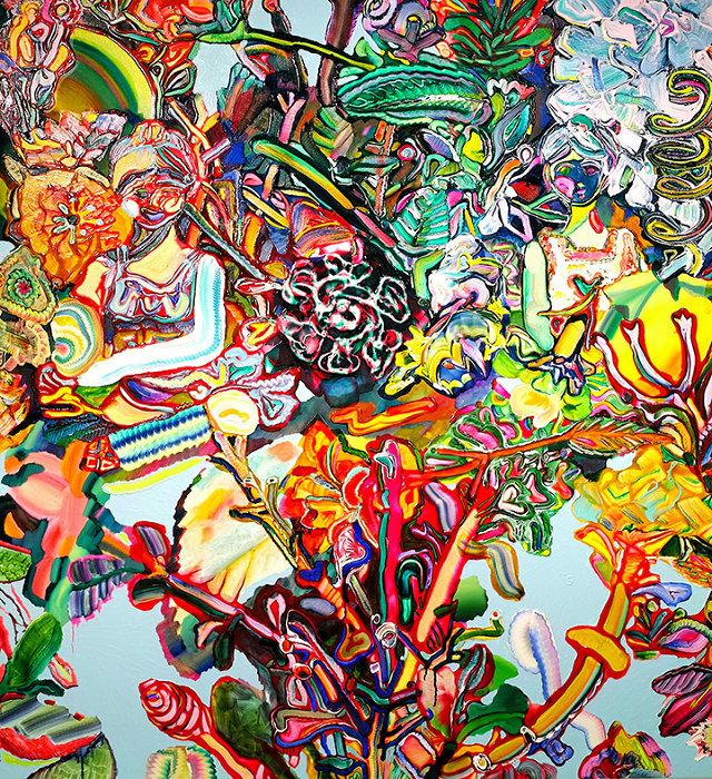 高木智子『2つの女の子』1630×1500×40mm、キャンバスに油彩、2017