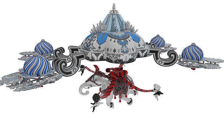"""ニコラ・ビュフ『""""Fantastic Gift"""" ~「冬の王国」と「夏の王国」の物語~』中央吹き抜け作品イメージビジュアル"""