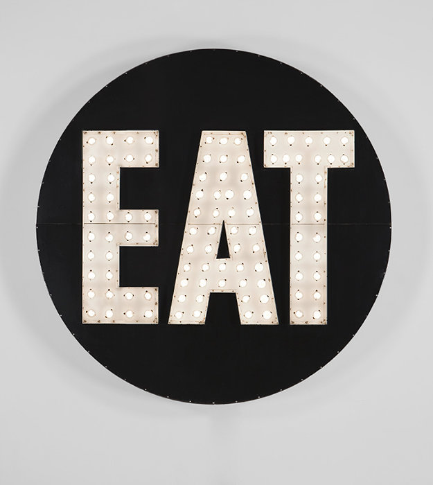 Robert Indiana, The Electric EAT, 1964-2007, Polychrome aluminum, stainless steel, and light-bulbs, 198.1 x 198.1 x 17.8 cm, Private collection ©2018 Morgan Art Foundation Ltd./ Artists Rights Society (ARS), NY. Image courtesy of RI Catalogue Raisonné LLC.