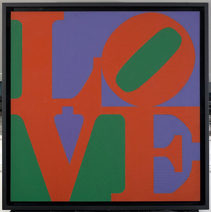 Robert Indiana, Philadelphia LOVE, 1972, Oil on canvas, 91.4 x 91.4 cm, Private collection ©2018 Morgan Art Foundation Ltd./ Artists Rights Society (ARS), NY. Photo: Kevin Ryan Image, New York. Image courtesy of RI Catalogue Raisonné LLC.