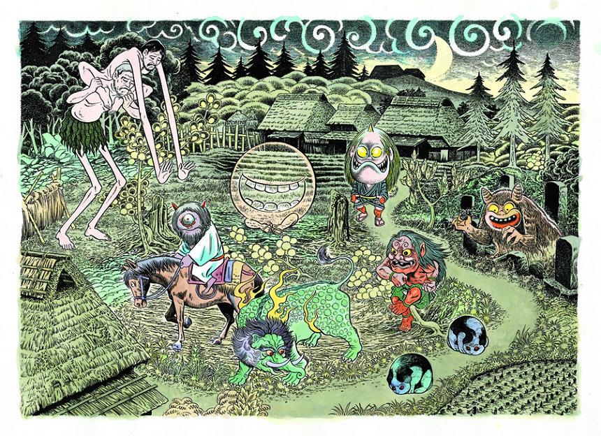 『妖怪たちのいるところ』 ©水木プロ『一 妖怪のとき・暗闇の世界』より