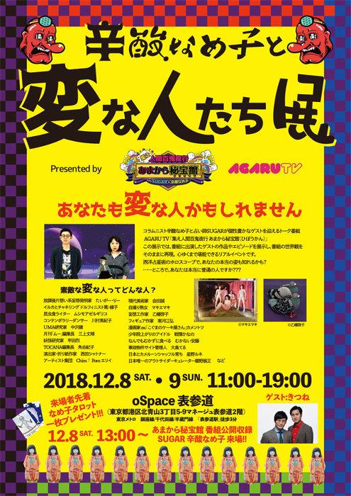 『辛酸なめ子と変な人たち展 presented by あまから秘宝館』フライヤービジュアル