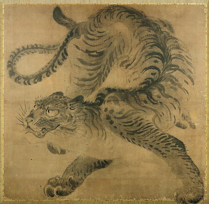 『虎図』河鍋暁斎 一面 19世紀 東京・正行院(全期間展示)