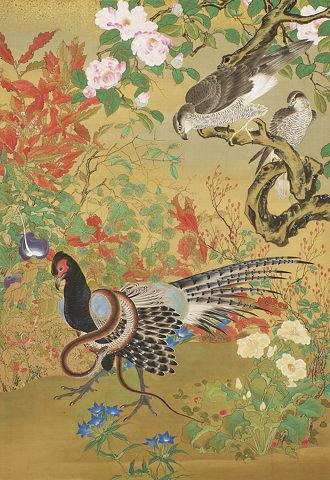 『花鳥図』河鍋暁斎 一幅 明治14年(1881)東京国立博物館 Image: TNM Image Archives(展示期間:2/6~2/18)