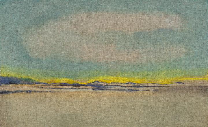 イケムラレイコ『ベルリン地平線 I』2012年 テンペラ、油彩/ジュート 110x180cm 作家蔵