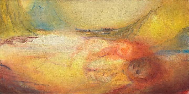 イケムラレイコ『母の情景』2011/15年 油彩/ジュート 90x180cm 作家蔵