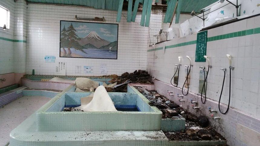 被害を受けた銭湯の様子 写真提供:大阪府公衆浴場組合、撮影協力:長瀬温泉(休業中)