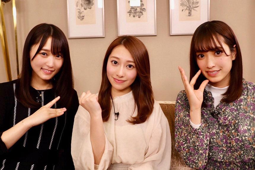 左から菅井友香(欅坂46)、桜井玲香(乃木坂46)、佐々木久美(日向坂46)