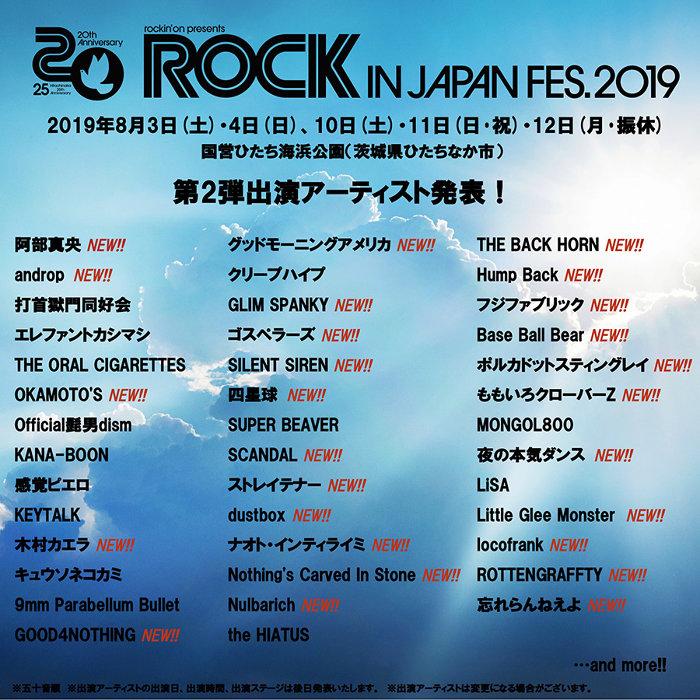 『ROCK IN JAPAN FESTIVAL 2019』出演者