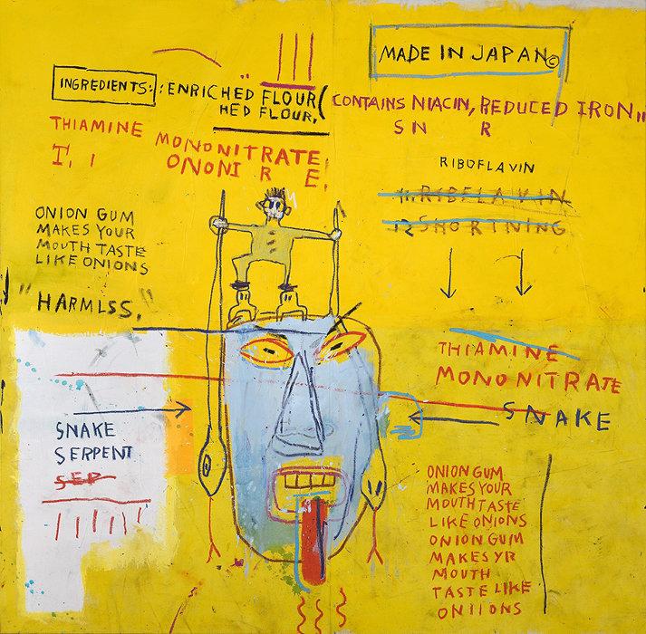 ジャン=ミシェル・バスキア<br> Onion Gum, 1983<br> Acrylic and oilstick on canvas<br> 177.8 x 203.2 x 5 cm<br> Courtesy Van de Weghe Fine Art, New York<br> Photo: Camerarts, New York<br> Artwork © Estate of Jean-Michel Basquiat.<br> Licensed by Artestar, New York