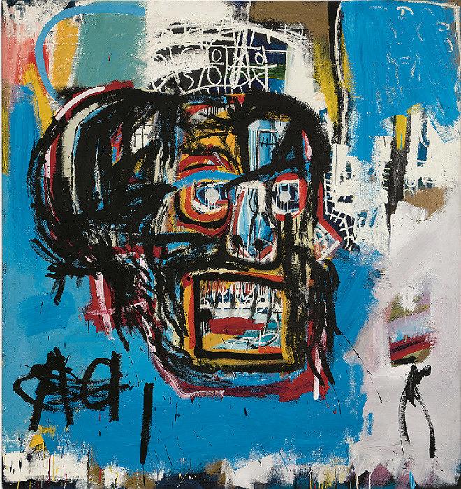 ジャン=ミシェル・バスキア<br> Untitled, 1982<br> Oilstick, acrylic, and spray paint on canvas<br> 183 x 173 cm<br> Yusaku Maezawa Collection, Chiba<br> Artwork © Estate of Jean-Michel Basquiat.<br> Licensed by Artestar, New York