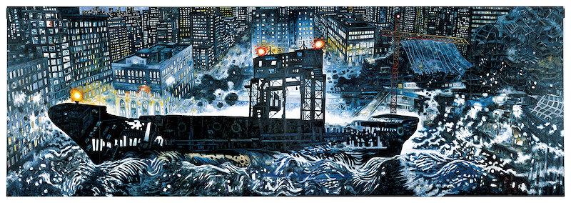 大岩オスカール『ゴースト・シップ』2014 油彩/キャンバス 227×666cm 作家蔵