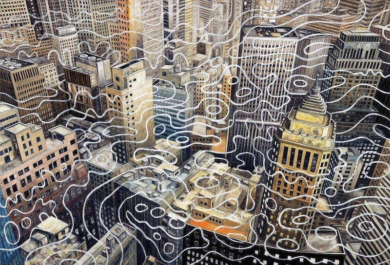 大岩オスカール『ワールド・ワイド・ウェブ・ウェーブ 2(ウォール・ストリート)』2017 油彩/キャンバス 227×333cm 作家蔵
