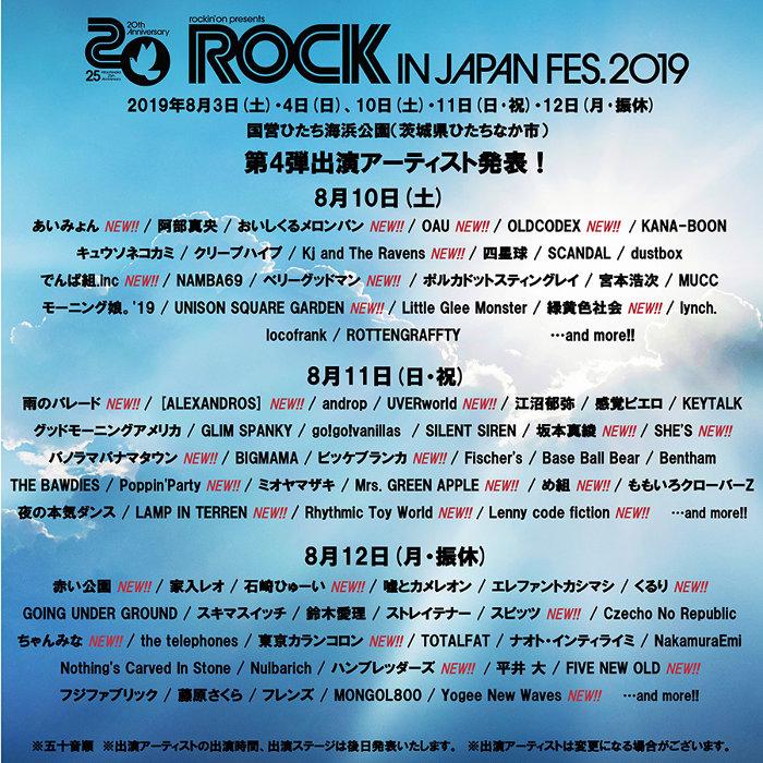 『ROCK IN JAPAN FESTIVAL 2019』2週目出演アーティスト