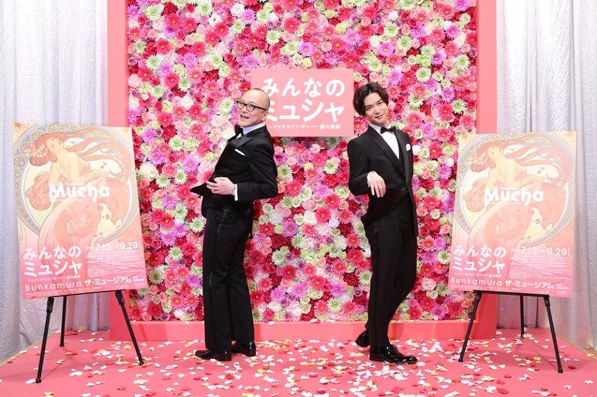 『みんなのミュシャ ミュシャからマンガへ――線の魔術』オフィシャルサポーターに就任した山田五郎と千葉雄大