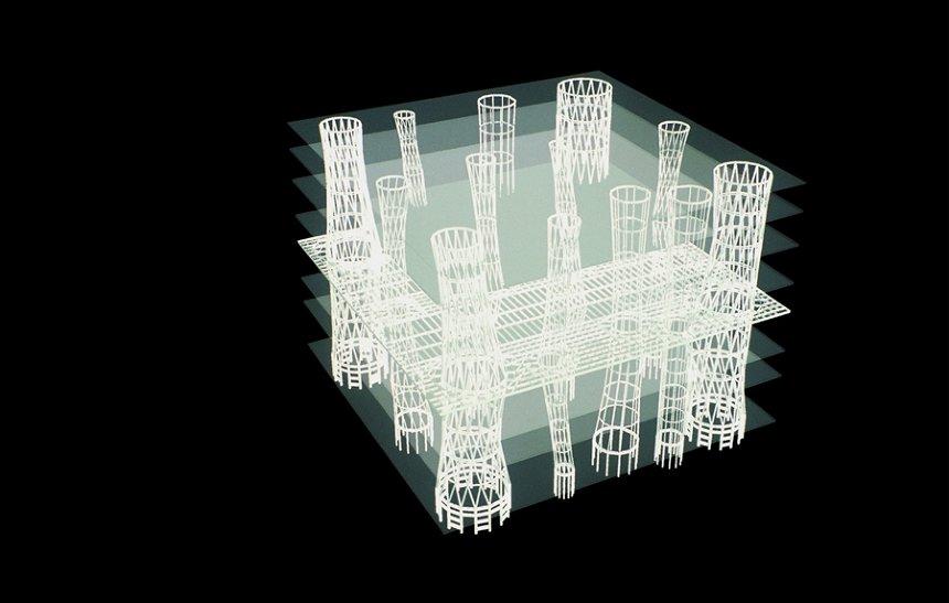 佐々木睦朗 せんだいメディアテーク アクソメ図 ©佐々木睦朗構造計画研究所
