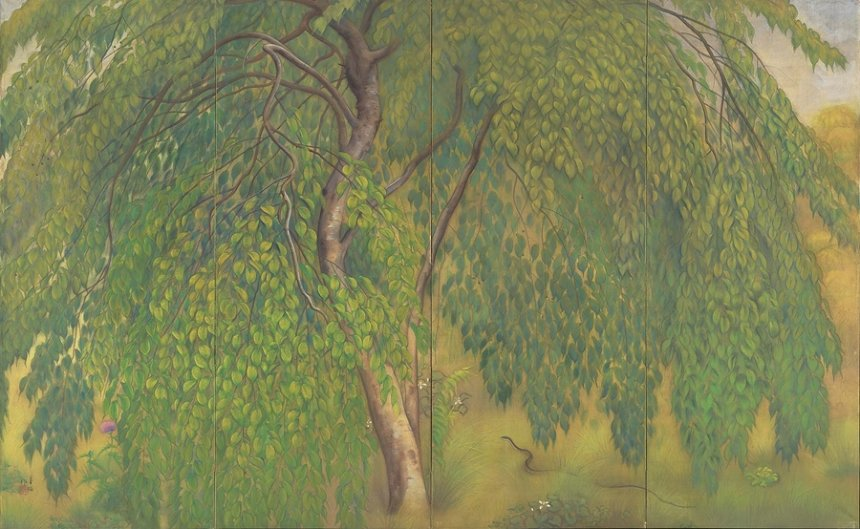 山口華楊『葉桜』1921年 絹本彩色 168.7×273.5cm