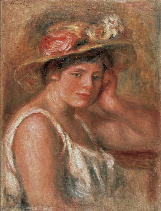 ピエール=オーギュスト・ルノワール『帽子の娘』1910年 油彩・キャンヴァス 52×39.5cm