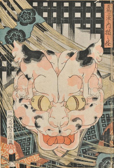 歌川芳藤『五拾三次之内猫之怪』