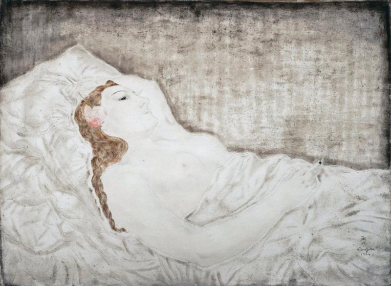 藤田嗣治『横たわる裸婦(ユキ)』1924年 油彩・キャンバス 54×73cm